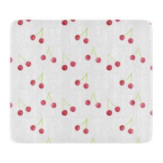 Red cherry pattern glass mat cutting board