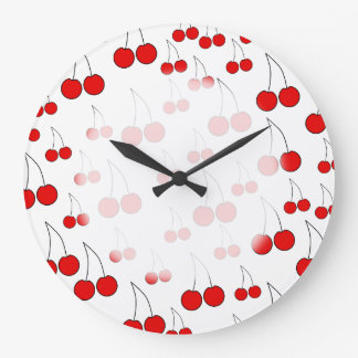 Red Cherry Pattern. Large Clock