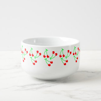 Red cherry summer fruit soup bowl with handle