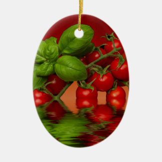 Red Cherry Tomatoes Basil Christmas Ornament