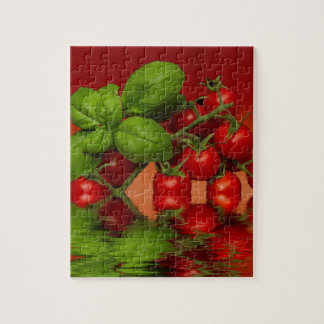 Red Cherry Tomatoes Basil Jigsaw Puzzle