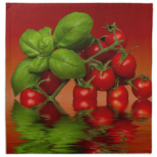 Red Cherry Tomatoes Basil Napkin