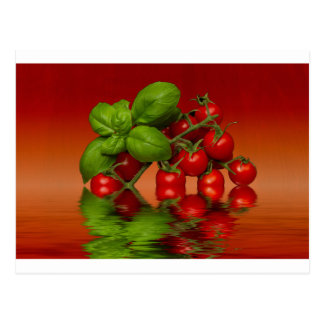 Red Cherry Tomatoes Basil Postcard