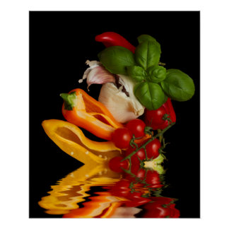 Red Cherry Tomatoes with Basil and Garlic Poster