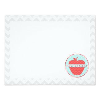 Red Chevron Apple Quatrefoil Teacher Post Its 11 Cm X 14 Cm Invitation Card