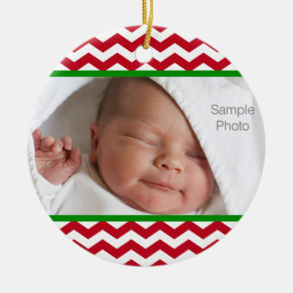Red Chevron Christmas Baby Photo Ornament