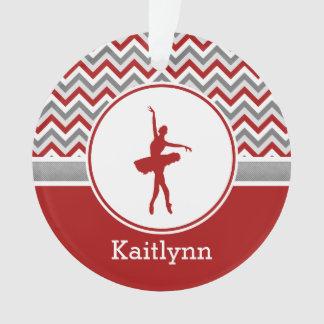 Red Chevron Dancer Personalized Ornament