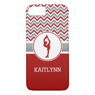 Red Chevron Figure Skater iPhone 7 Case
