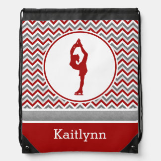 Red Chevron Figure Skater Personalized Backpack
