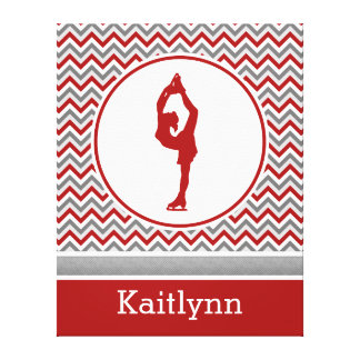 Red Chevron Figure Skater Personalized Canvas Canvas Print