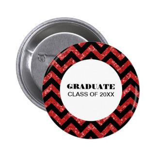 Red Chevron Glitter Graduation Button