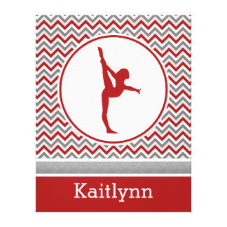 Red Chevron Gymnast Personalized Canvas Gallery Wrap Canvas