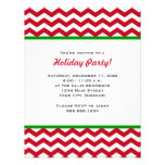 Red Chevron Holiday Party Invitations