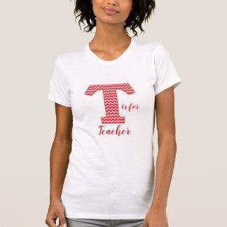 Red Chevron Letter T for Teacher T-Shirt