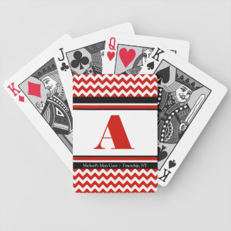 Red Chevron Personalised Playing Cards