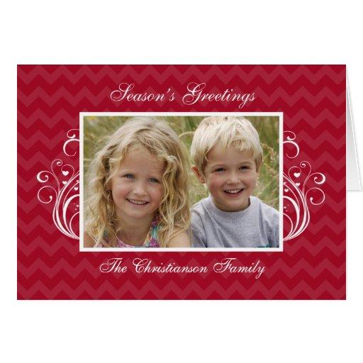 Red Chevron Photo Folded Christmas Card