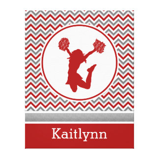 Red Chevron Pom or Cheer Personalized Canvas Gallery Wrap Canvas