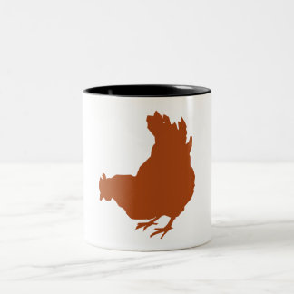 Red Chicken Hen Two-Tone Coffee Mug