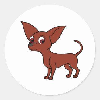 Red Chihuahua Round Sticker