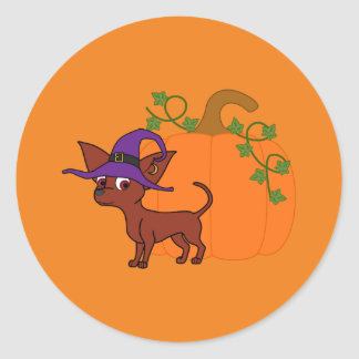 Red Chihuahua Witch with Halloween Pumpkin Round Sticker
