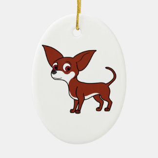 Red Chihuahua with White Markings Ceramic Oval Decoration