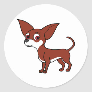 Red Chihuahua with White Markings Round Sticker