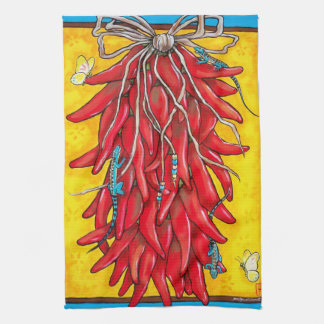 Red Chile Chili Pepper Ristra Towel Lizard Yellow