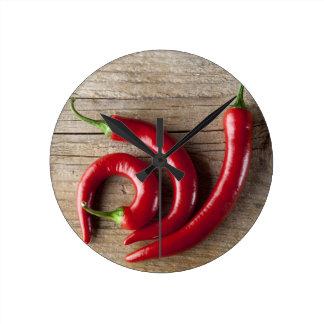 Red Chili Pepper Round Clock