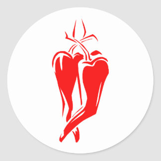red chili pepper two dancing abstract round sticker