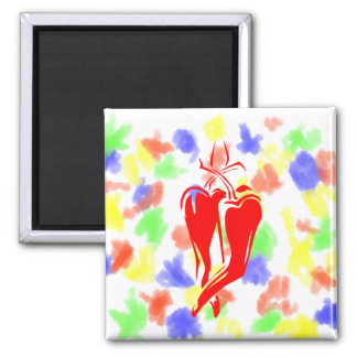 red chili pepper two dancing abstract square magnet