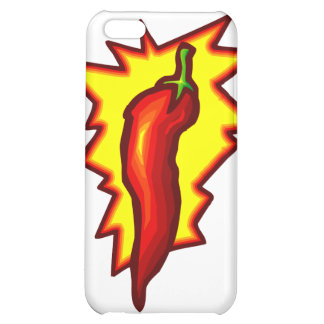 Red Chili Pepper Yellow Burst Graphic iPhone 5C Cases
