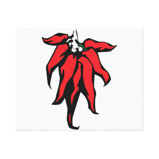 Red Chili Peppers On a String Graphic Stretched Canvas Prints