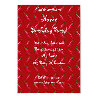 """Red chili peppers pattern 5"""" x 7"""" invitation card"""