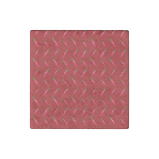 Red chili peppers pattern stone magnet