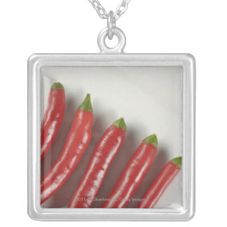 Red chili peppers silver plated necklace