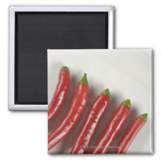 Red chili peppers square magnet