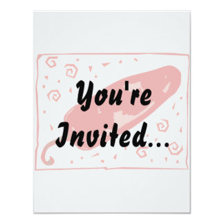 Red chili rounded pepper squirls 11 cm x 14 cm invitation card