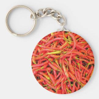 Red Chilli Pattern Basic Round Button Key Ring
