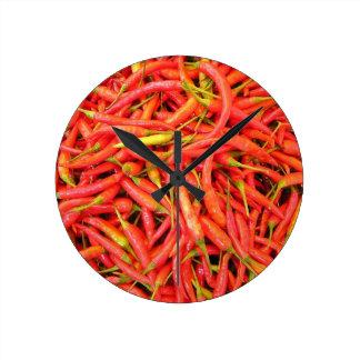 Red Chilli Pattern Round Clock
