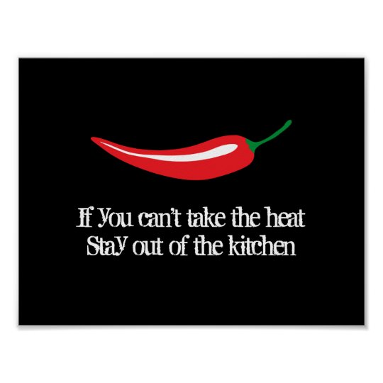 Red chilli pepper kitchen poster with funny quote