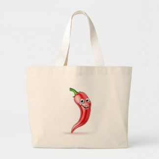 Red Chilli Pepper Mascot Large Tote Bag