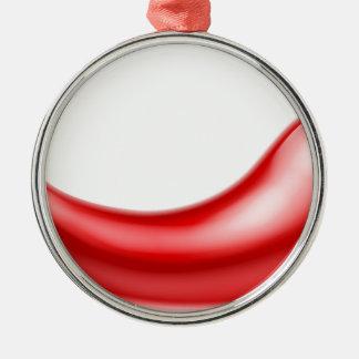 Red Chilli Pepper Silver-Colored Round Decoration