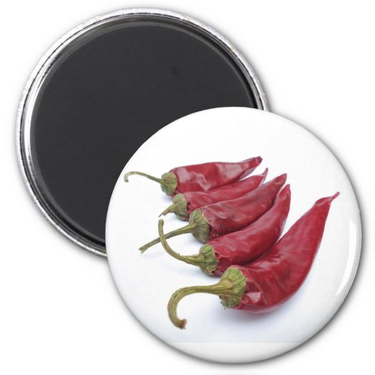 Red chilli peppers 6 cm round magnet