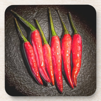 Red Chilli Peppers Coaster set of 6