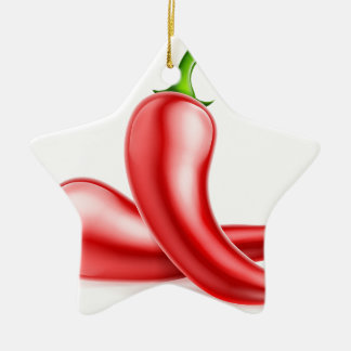 Red Chilli Peppers Illustration Christmas Ornament