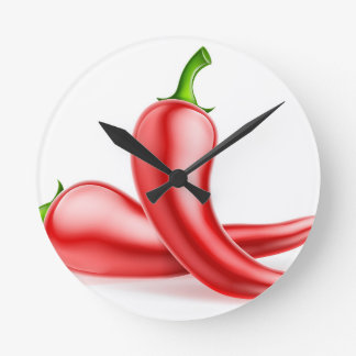 Red Chilli Peppers Illustration Round Clock