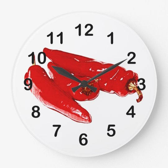 red chilli peppers large clock
