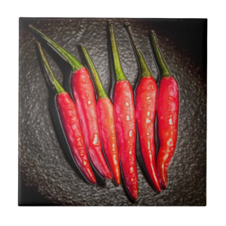 Red Chilli Peppers Tile/Trivet Small Square Tile
