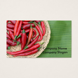 Red Chillies on banana leaf Business Card