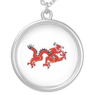 Red Chinese Dragon Round Pendant Necklace